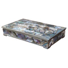 Striking Handcrafted Midcentury Era Mother of Pearl and Alpaca Silver Box