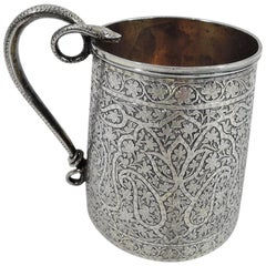 Striking Indian Colonial Raj-Era Silver Mug with Snake Handle
