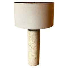 Striking Italian Solid Travertine Column Table Lamp Postmodern