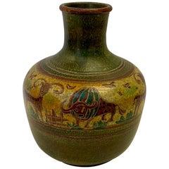 Striking Large Beautifully Incised Italian Pottery Vase