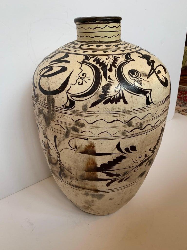 Striking Large Cizhou Ware Vessel Vase For Sale 2
