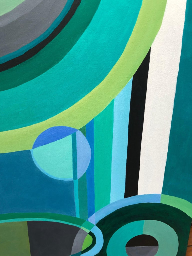 A striking abstract composition with gorgeous color palette of greens, blues, grey, black and white. The unpredictable arrangement of circles, ovals, lines and overlapping shapes exudes a sense of power and calm simultaneously.