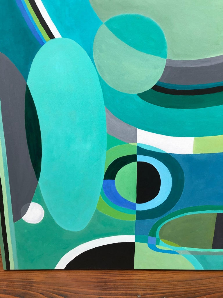 Modern Striking Large Rectangular Abstract Painting in Blues and Greens For Sale