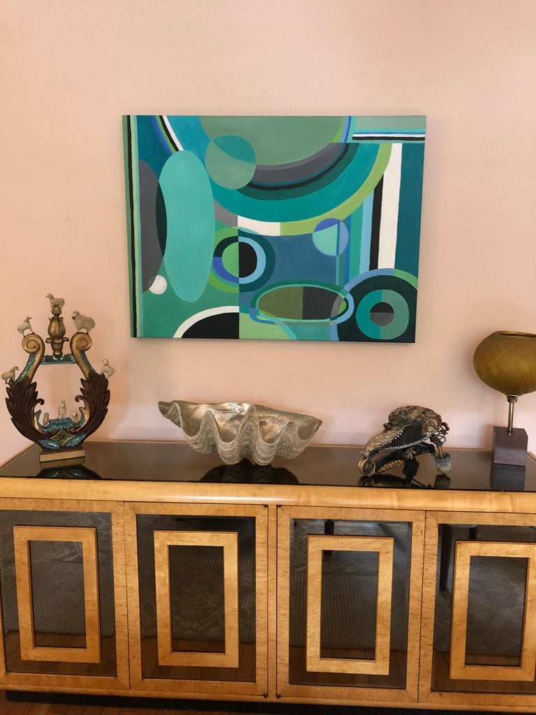 Striking Large Rectangular Abstract Painting in Blues and Greens In Excellent Condition For Sale In Hopewell, NJ
