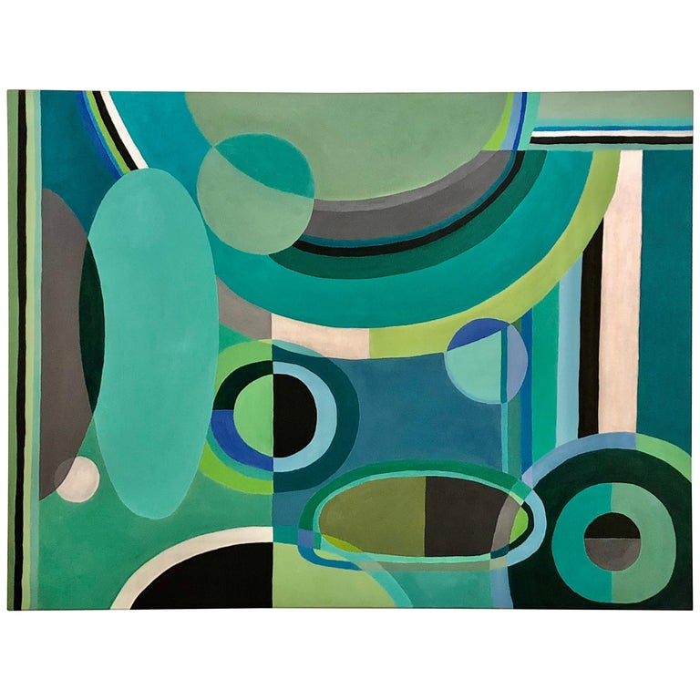 Striking Large Rectangular Abstract Painting in Blues and Greens For Sale