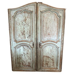 Striking Large Weathered Pair of Painted Antique Architectural Shutters