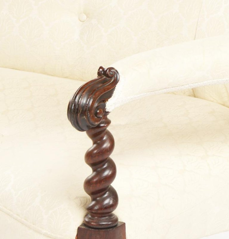 Upholstery Striking Late 1800s Carved Mahogany Barley Twist Settee For Sale