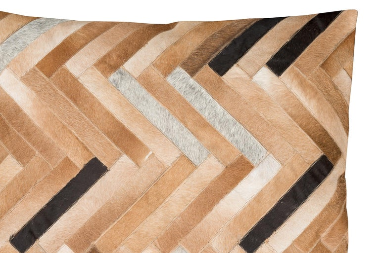 Machine-Made Herringbone pattern brown, white and black De Los Bosques Cowhide Area Floor Rug For Sale