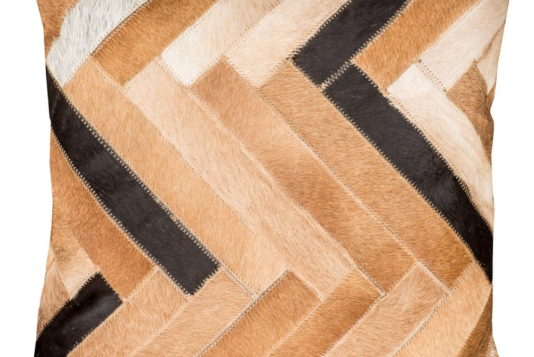 Herringbone pattern brown, white and black De Los Bosques Cowhide Area Floor Rug In New Condition For Sale In Charlotte, NC