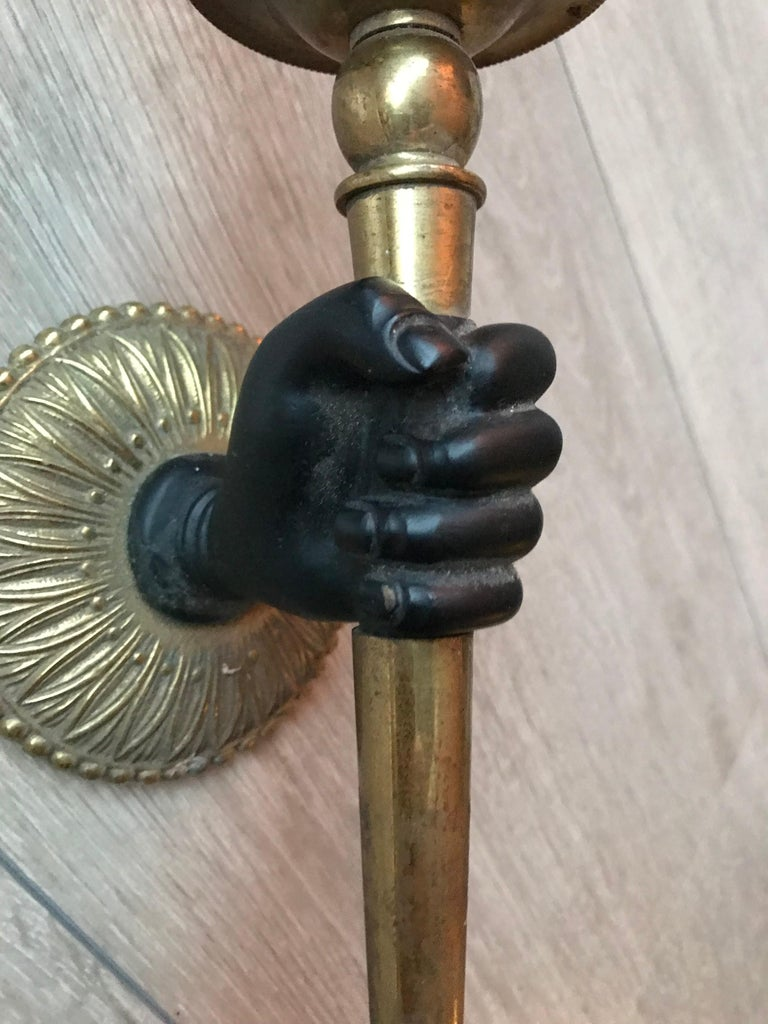 Striking Maison Baguès Style Solid Bronze Hand w. Brass Torch Wall Sconce / Lamp For Sale 9