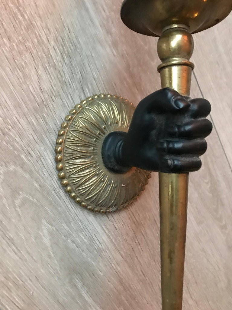 Striking Maison Baguès Style Solid Bronze Hand w. Brass Torch Wall Sconce / Lamp For Sale 11