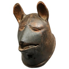 Striking Makonde Animal Helmet Mask, Dog or Hyena, Tanzania, Early 20th Century