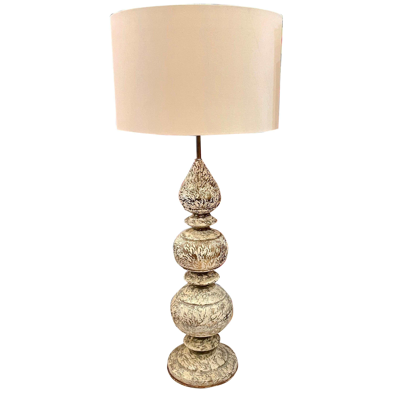 Striking Massive Brass Patinated Marbro Tall Lamp
