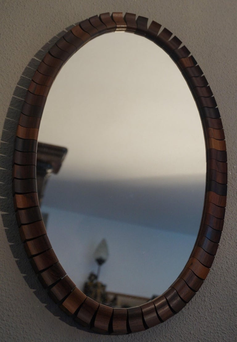 Striking Mid-Century Modern Oval Mirror in Handcrafted Cocobolo Wooden Frame For Sale 8