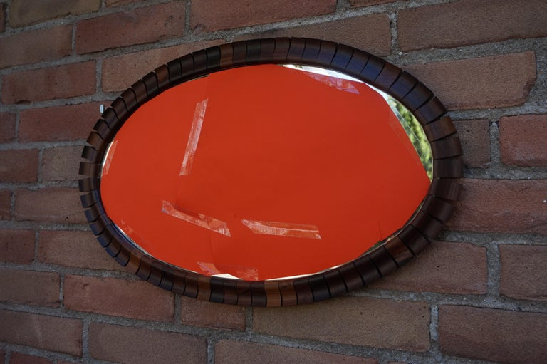 Striking Mid-Century Modern Oval Mirror in Handcrafted Cocobolo Wooden Frame For Sale 9