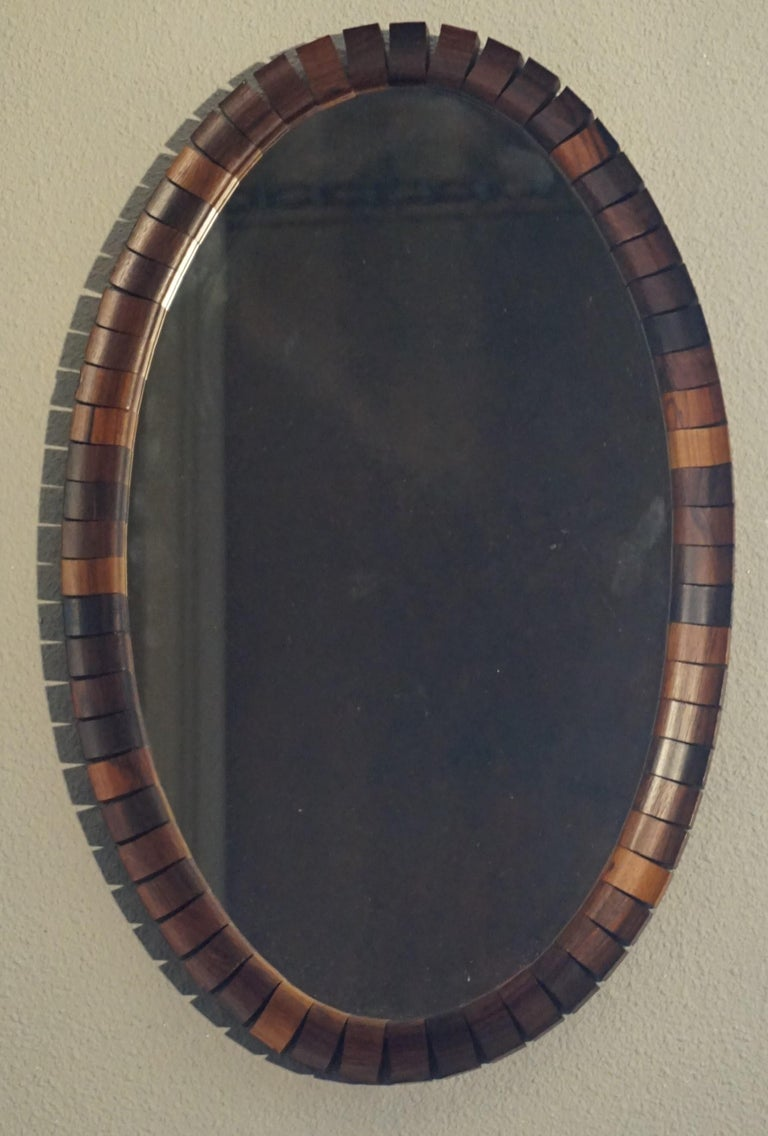 Striking Mid-Century Modern Oval Mirror in Handcrafted Cocobolo Wooden Frame For Sale 10