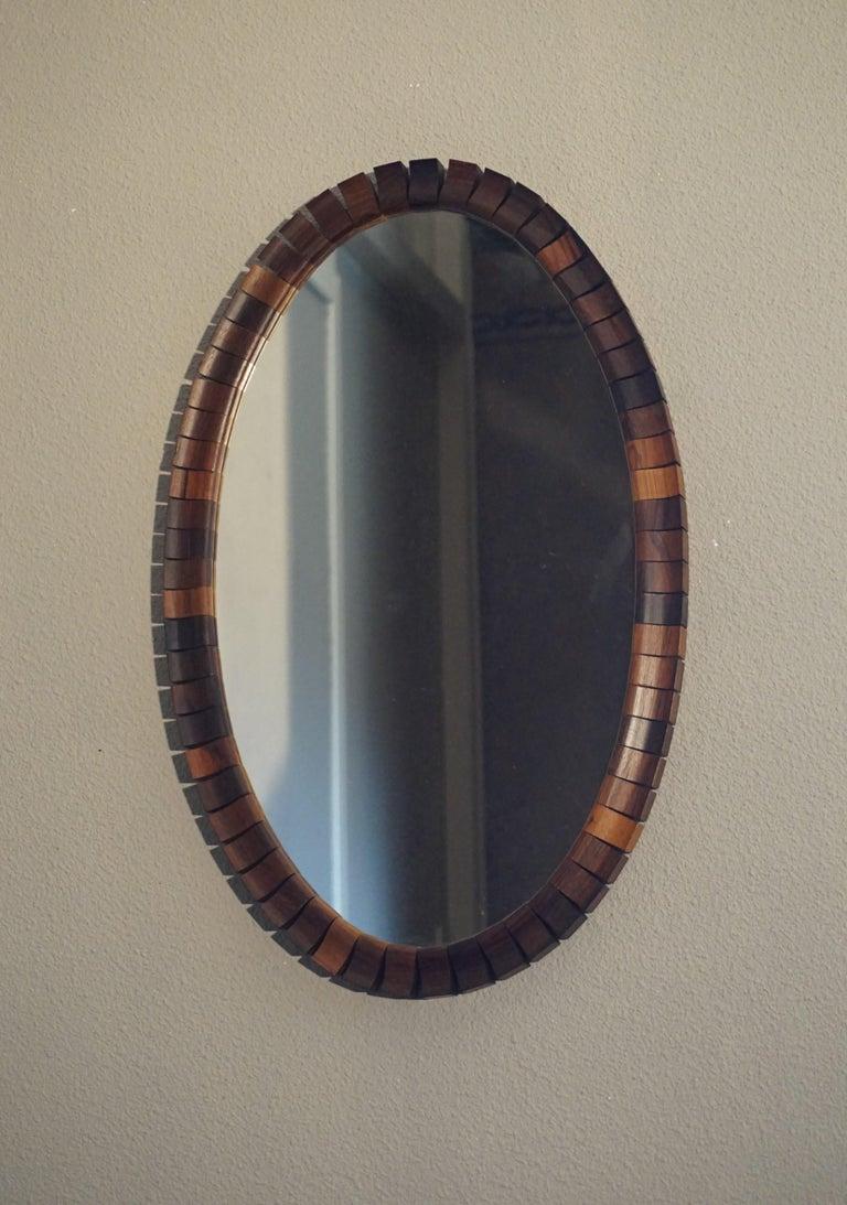 Striking Mid Century Modern Oval Mirror In Handcrafted Macassar Wooden Frame