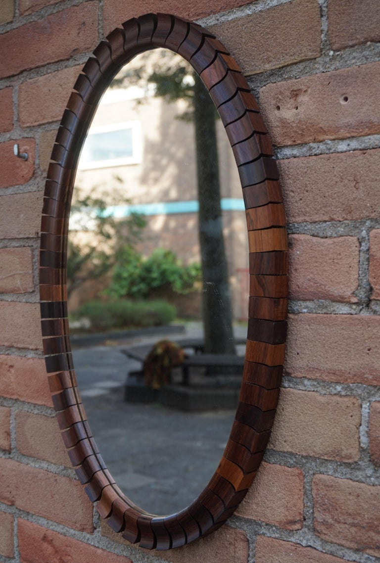 20th Century Striking Mid-Century Modern Oval Mirror in Handcrafted Cocobolo Wooden Frame For Sale