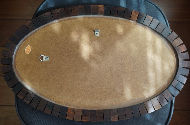 Striking Mid-Century Modern Oval Mirror in Handcrafted Cocobolo Wooden Frame For Sale 3