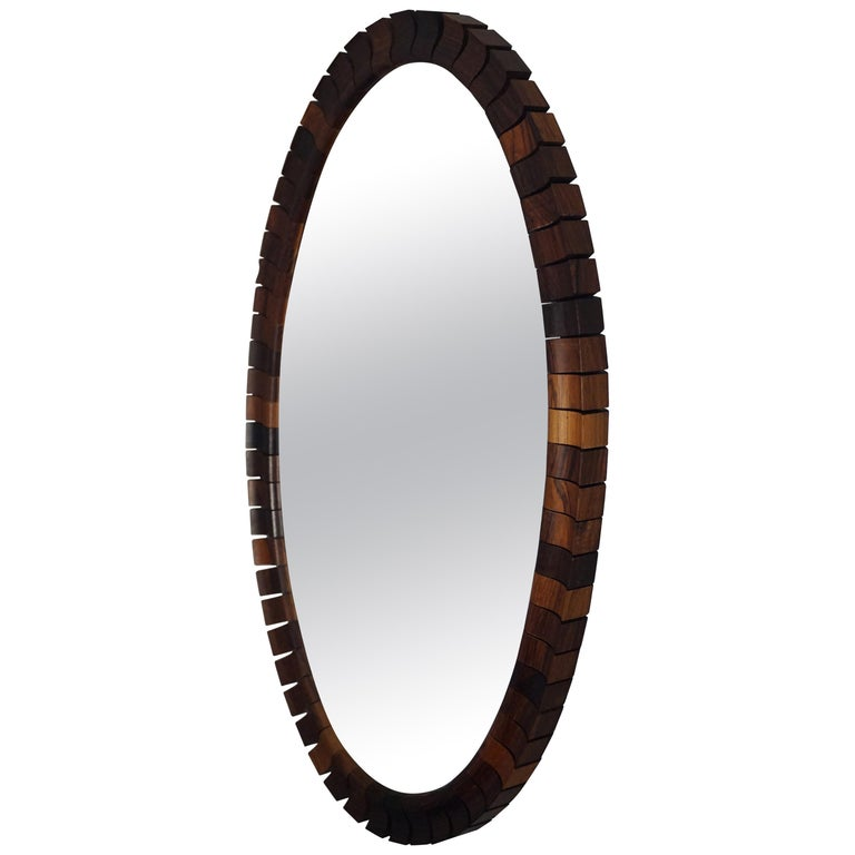Striking Mid-Century Modern Oval Mirror in Handcrafted Cocobolo Wooden Frame For Sale