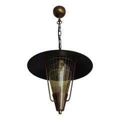 Striking Mid-Century Modern Pendant Light w. Engraved Amber Glass in Brass Frame