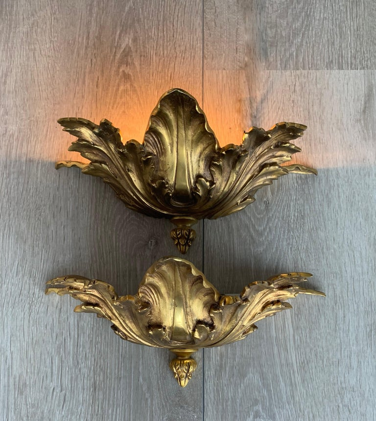 20th Century Striking Midcentury Made Pair of Hollywood Regency Acanthus Leafs Wall Sconces For Sale