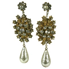 Striking Miriam Haskell Pearl and Gilt Long Earrings