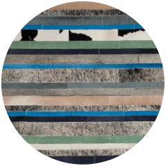Blue black & white Customizable Round Nueva Raya Cowhide Area Floor Rug Small