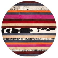 Pink & black striped Round Customizable Nueva Raya Cowhide Area Floor Rug Small