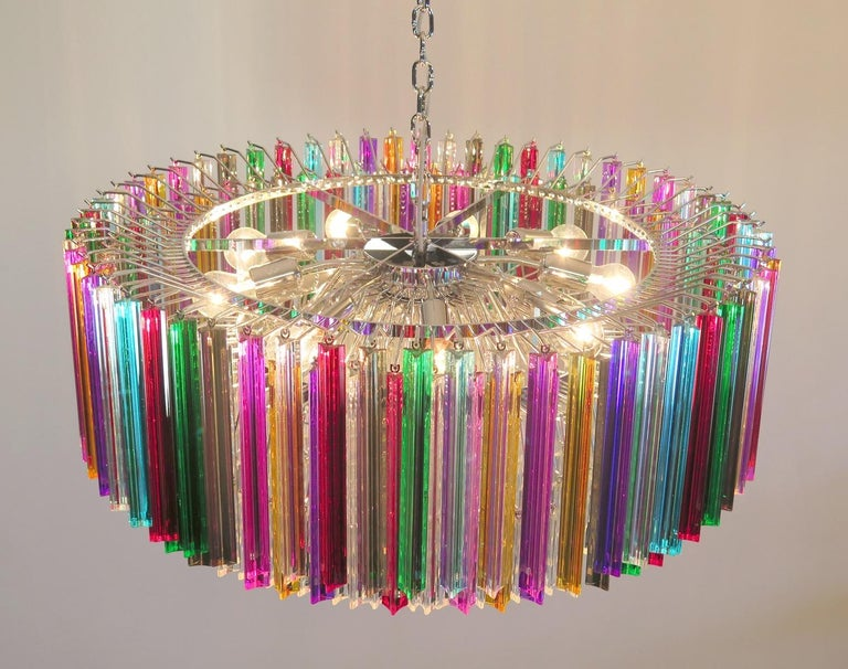Striking Multicolor Triedi Crystal Prism Chandelier For Sale 3