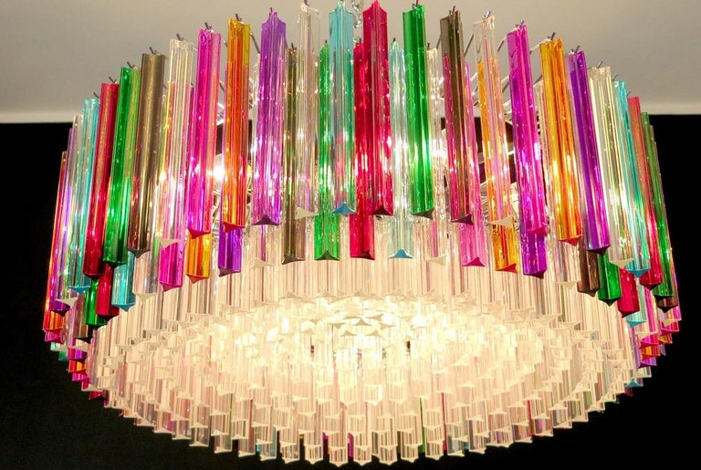 Italian Striking Multicolor Triedi Crystal Prism Chandelier For Sale