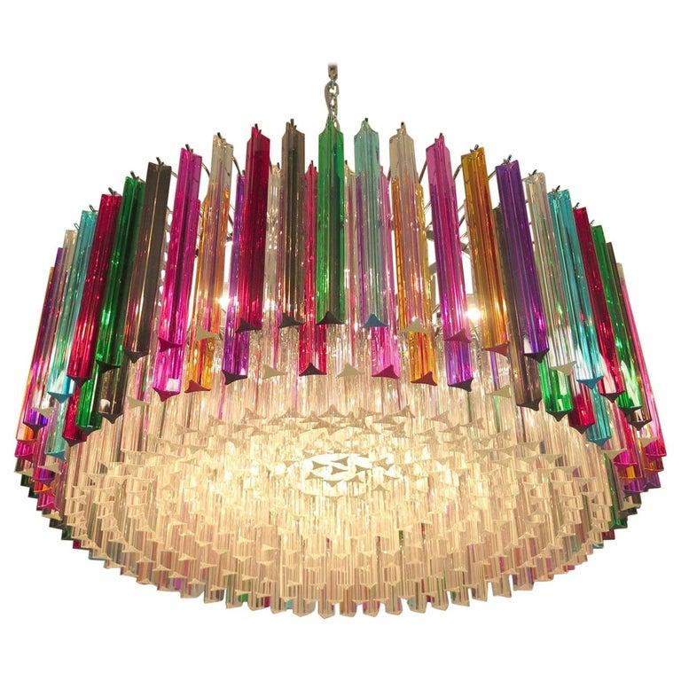 Steel Striking Multicolor Triedi Crystal Prism Chandelier For Sale