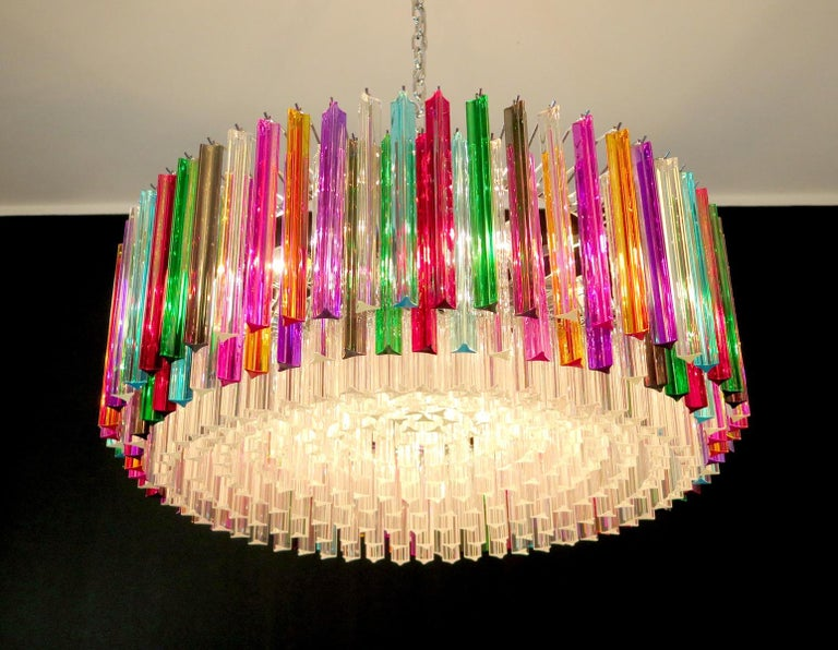 Striking Multicolor Triedi Crystal Prism Chandelier For Sale 1