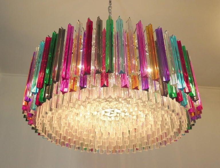 Striking Multicolor Triedi Crystal Prism Chandelier For Sale 2