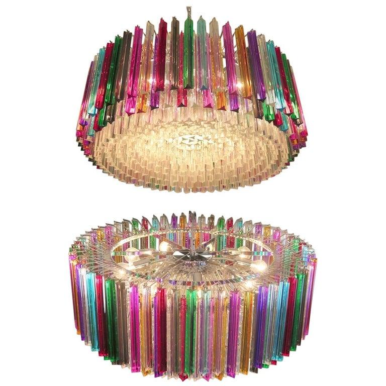 Striking Multicolor Triedi Crystal Prism Chandelier For Sale