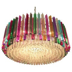 Striking Multicolor Triedi Crystal Prism Chandelier