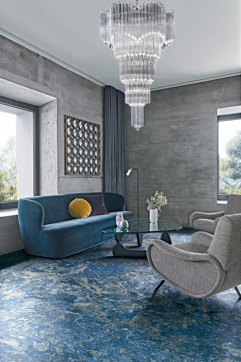 Art Deco Striking Multitier Triedi Crystal Prism Chandelier For Sale