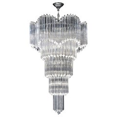 Striking Multitier Triedi Crystal Prism Chandelier