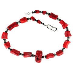 Striking Necklace of Red Coral with Silver and Black Onyx Accents