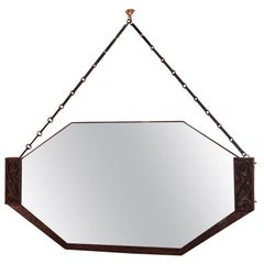 Striking Octagonal Art Deco Mirror with Patined Bronze Frame