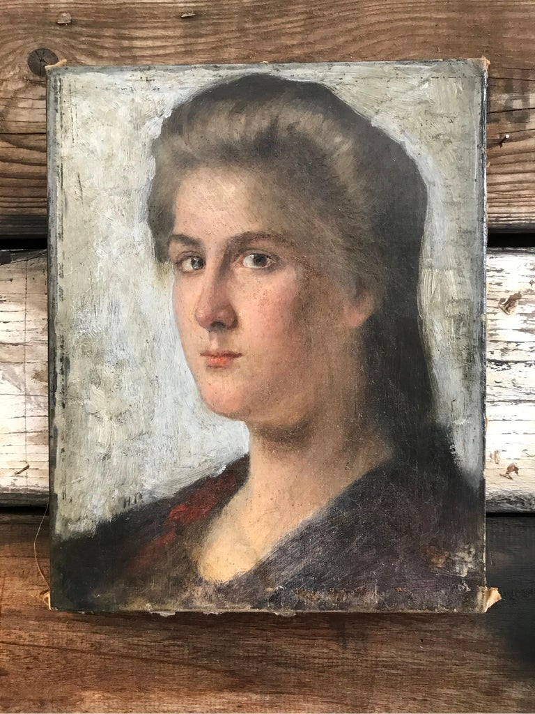 Striking Oil on Canvas Portrait of a Young Lady For Sale 3
