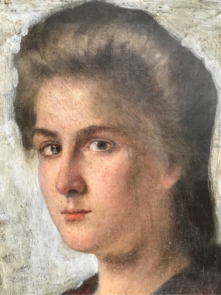 Victorian Striking Oil on Canvas Portrait of a Young Lady For Sale