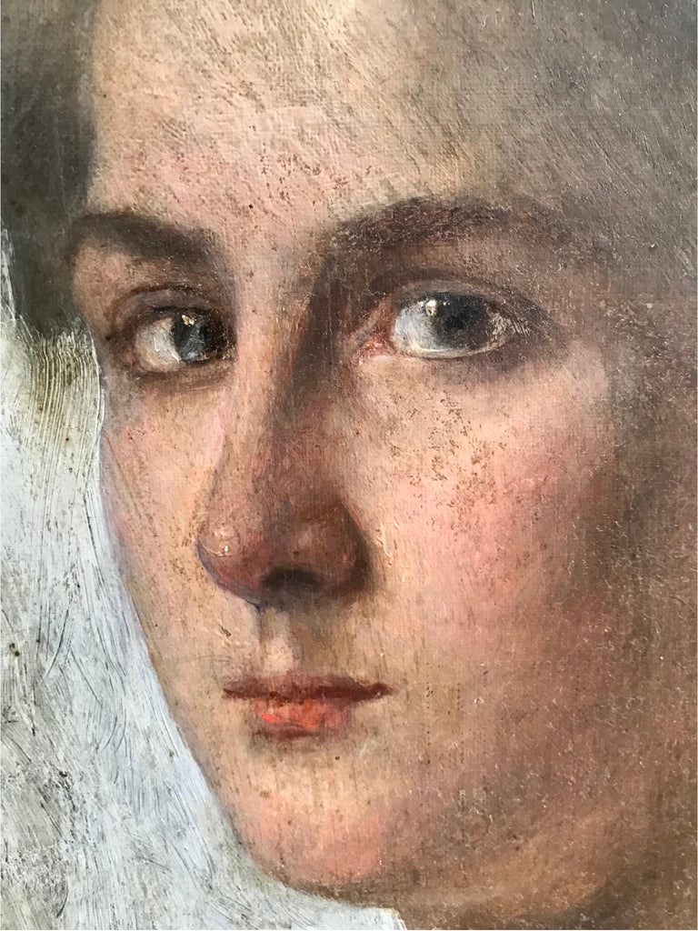 German Striking Oil on Canvas Portrait of a Young Lady For Sale