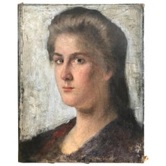 Striking Oil on Canvas Portrait of a Young Lady