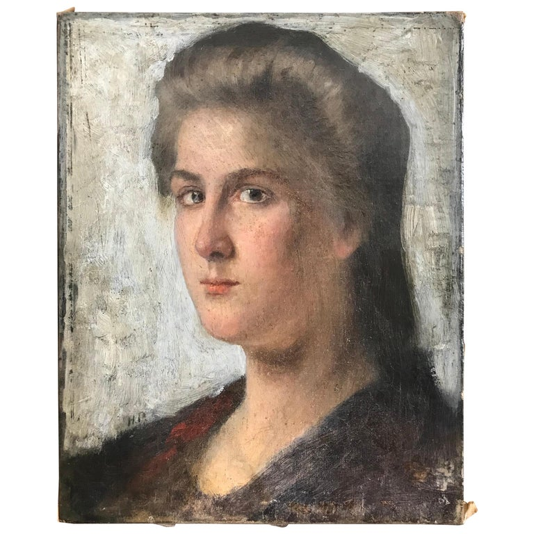 Striking Oil on Canvas Portrait of a Young Lady For Sale