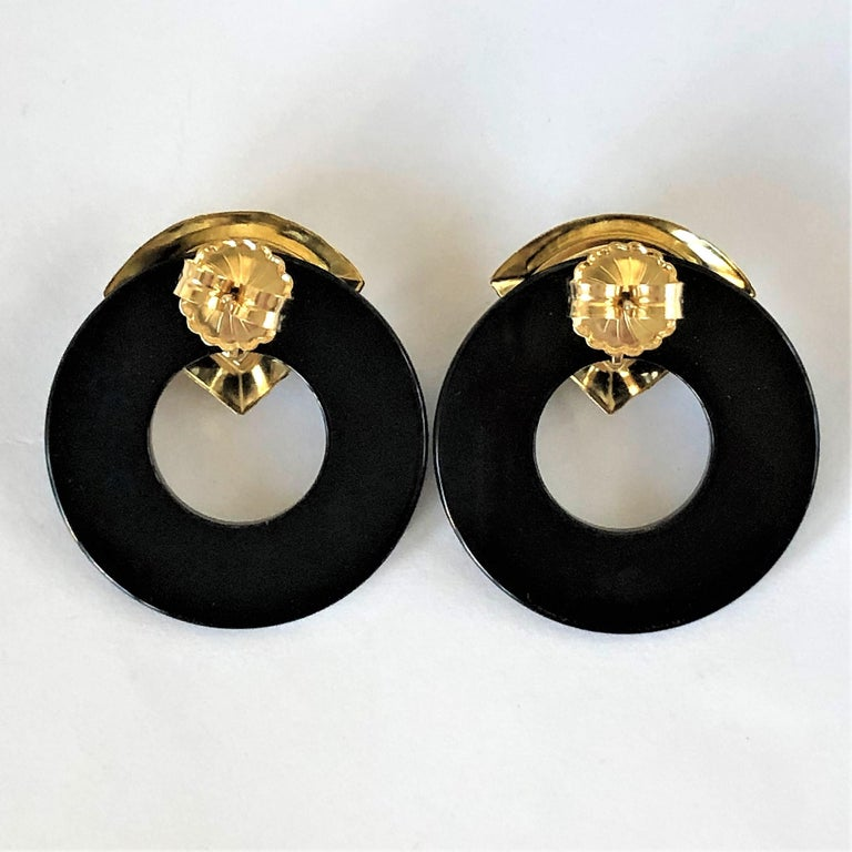 Women's Striking Onyx Disc and Gold Earrings Measuring Just Over