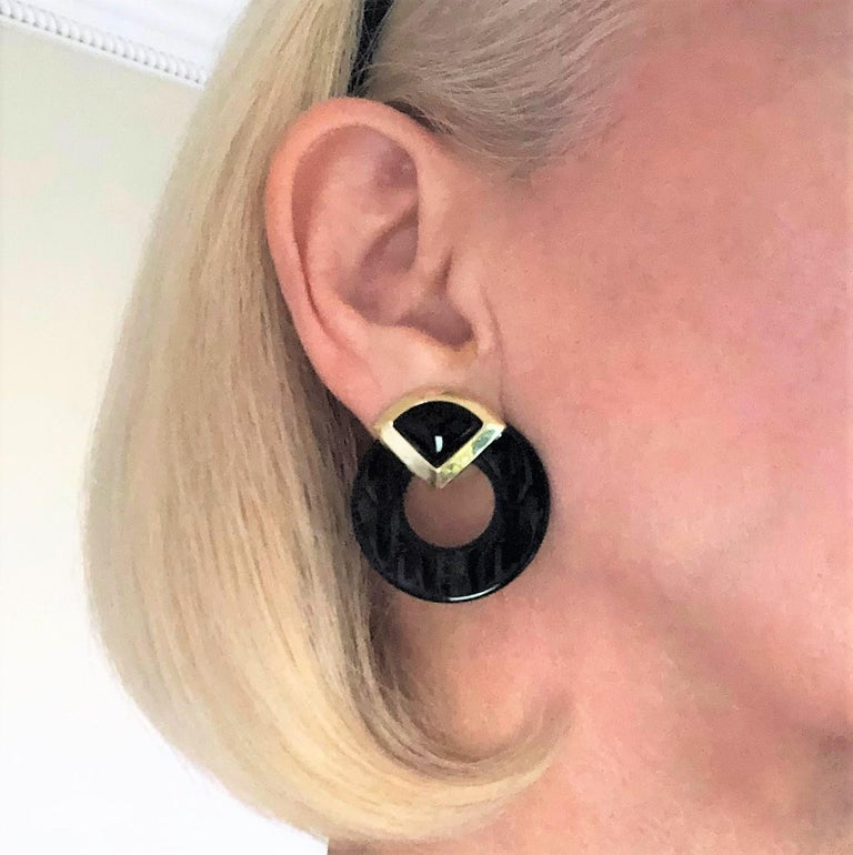 Striking Onyx Disc and Gold Earrings Measuring Just Over 2