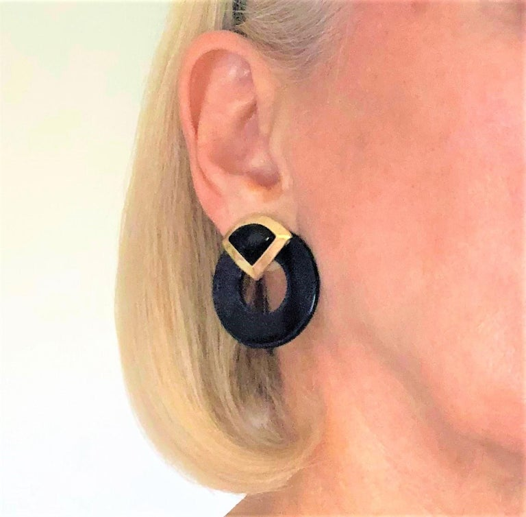 Striking Onyx Disc and Gold Earrings Measuring Just Over 3