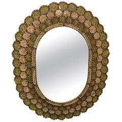 Striking Oval Spanish Mirror with Reverse Painting on Glass Églomisé Frame
