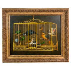 Striking Painting of Birds in Birdcage with Berries and Fruit